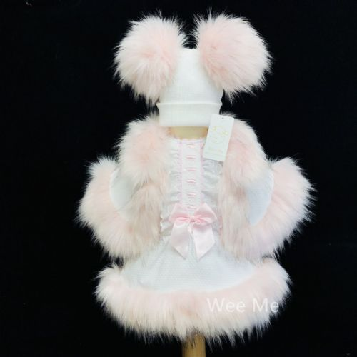 New Arrival Stunning Baby Girl White Spanish Fur Bottom Dress Outfit